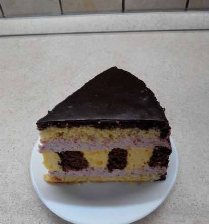 Chocolate citrus cake with strawberry mousse