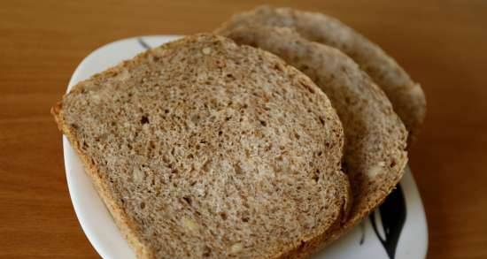 Wheat bread with whole grain flour and bran