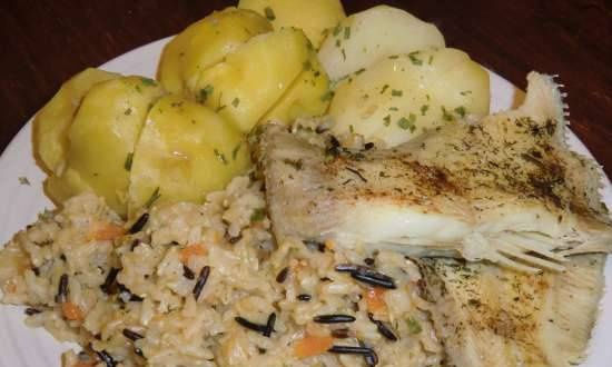 Fish with potatoes and rice in a pressure cooker