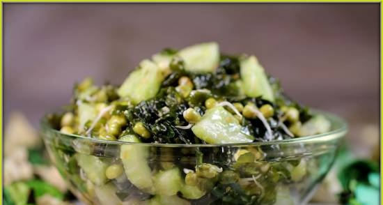 Salad with sprouted mung bean and seaweed