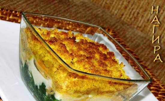 Mussels with spinach and nut streusel