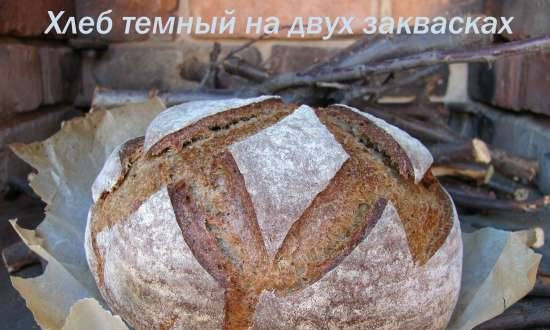 Dark bread with two leavens