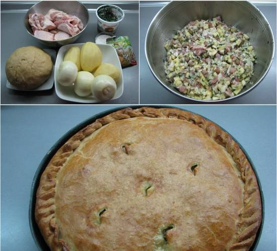 """Crimean Tatar pie with meat and potatoes """"Kubete"""""""