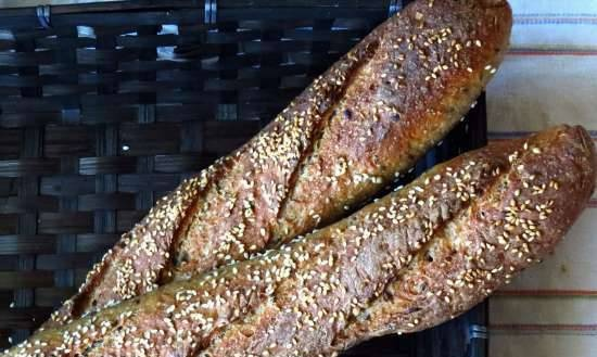 Wheat-rye baguettes with sourdough