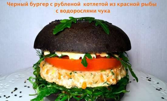 Chopped Red Fish Burger with Cuttlefish Ink Bun (and another option)