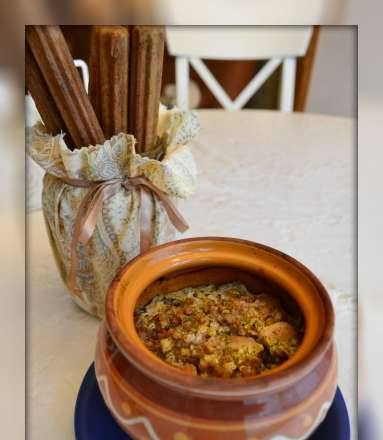 Buckwheat with chicken in a pot