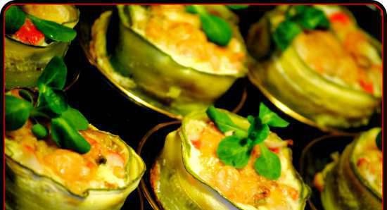 Zucchini baskets with seafood