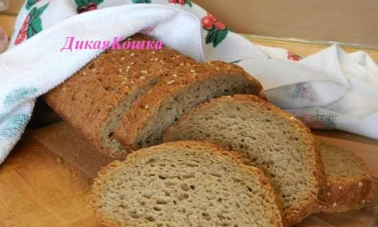 Family bread with mineral water on old dough