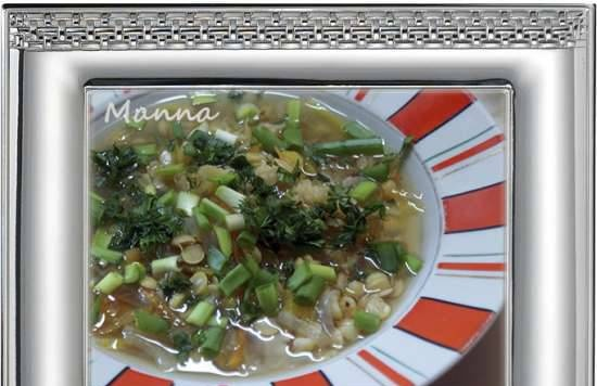 Vegetable pea soup with sprouted lentils (Philips multicooker HD3197)