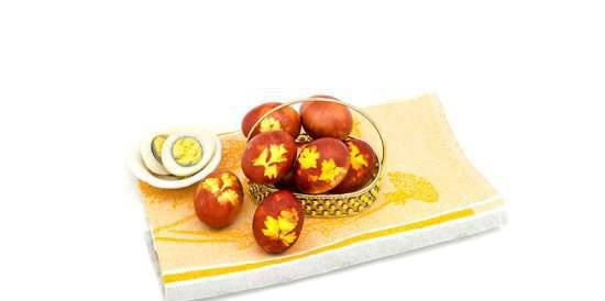 Eggs dyed with onion peels