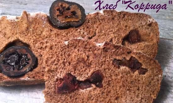"""Bread """"Corrida"""" (wheat-rye with green walnuts and dried persimmon)"""