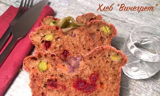 """Bread """"Vinaigrette"""" (rye-wheat on cucumber-potato brine with vegetables and anchovies)"""