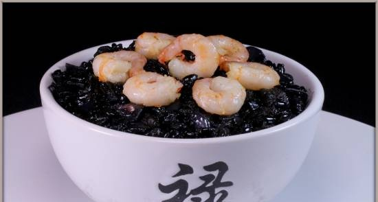 Risotto with Black Rice Shrimp South Night