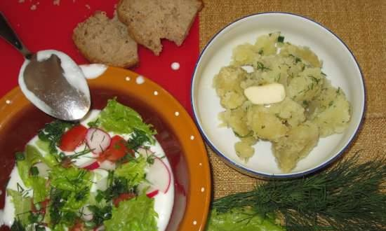 Rustic summer cold soup with yogurt (curdled milk)