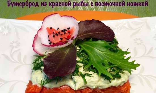 Cold smoked red fish sandwich and soft cheese with an oriental flavor