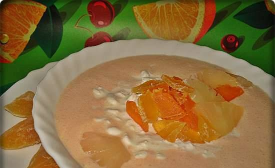 Cold kefir soup with dried apricots and cottage cheese