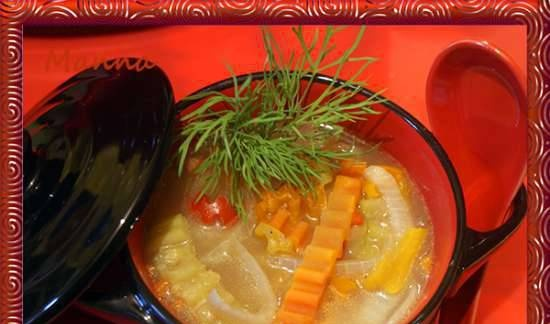 Vegetable soup with mushroom broth with chouxed buckwheat dumplings (KitchenAid multicooker)