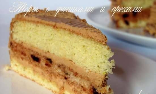 Sponge cake with dates and nuts