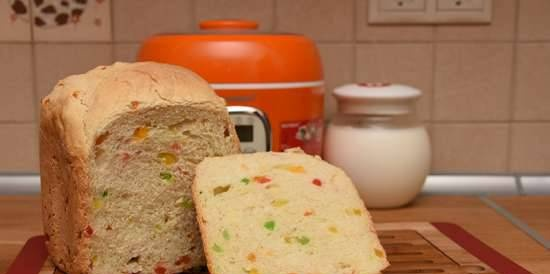 Oursson BM0800J. Yoghurt bread with candied fruit in a bread maker