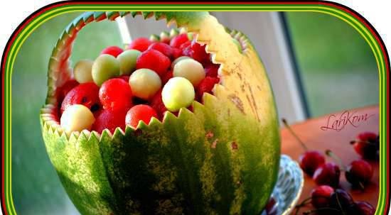 """Watermelon basket with """"berries"""""""