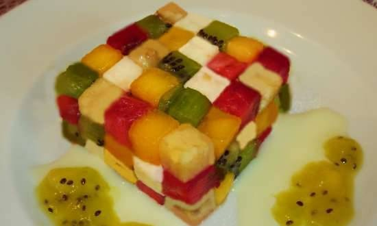 """Fruit salad with mozzarella """"Rubik's Cube"""" with condensed milk and fruit sauce"""