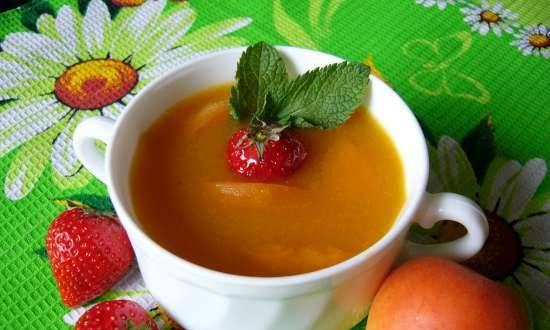Dessert cold soup with apricots and strawberries