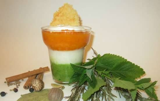 """Cream soup """"Multicolored Aroma"""" with ice cream and cheese chips. Herbs and vegetables"""