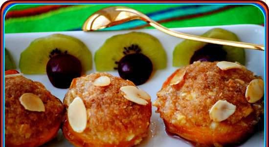 Baked peaches with almond filling