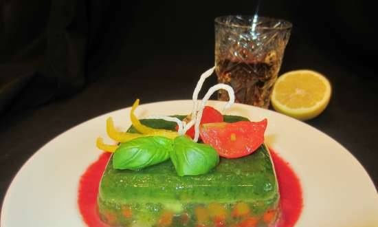 Jellied cod with spinach and bell peppers with sweet and sour sauce