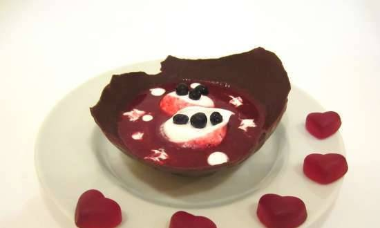Blueberry soup in a chocolate plate