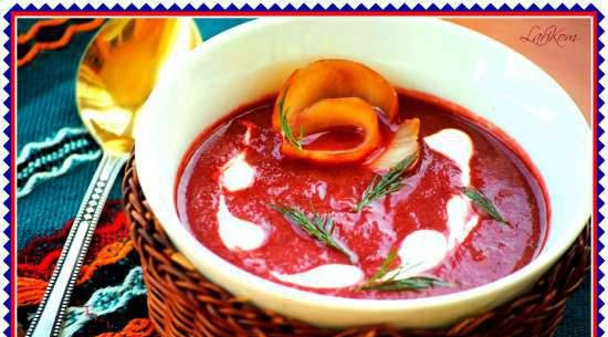 Cold beetroot soup with smoked halibut