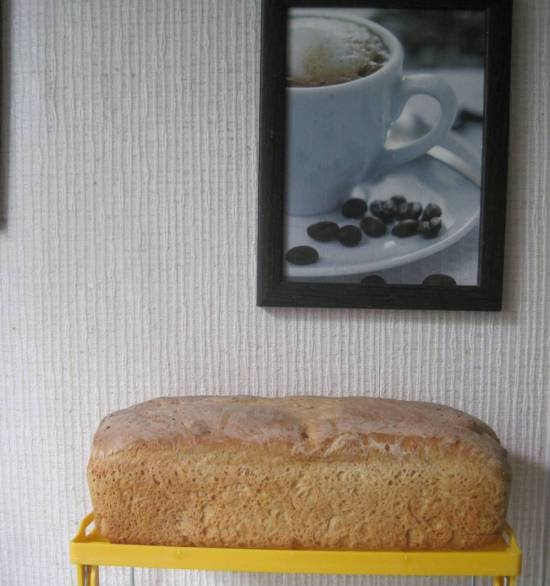 White bread with oatmeal and pumpkin seeds in the oven (cold fermentation)