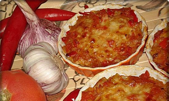 Spicy vegetables baked with meat (Princess 115000 pizza maker)
