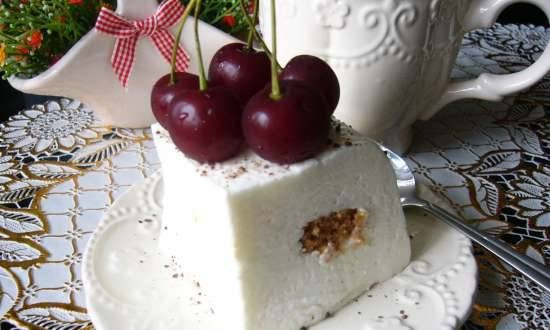 Creamy curd soufflé with almond cookies and cherries