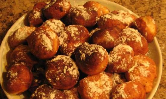 Curd donuts in a pan