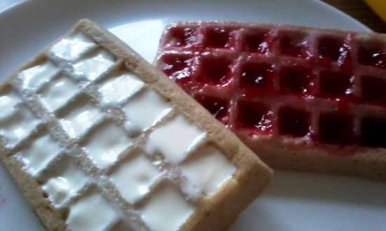 Cottage cheese waffles with yogurt and jam in the microwave