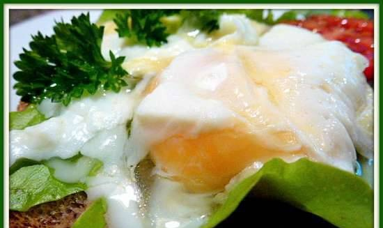 Poached egg in cling film