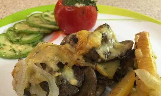 Chicken liver with apples and cheese