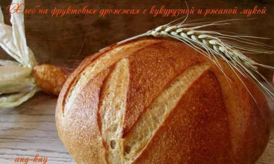 Fruit yeast bread with corn and rye flour