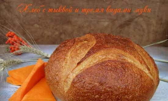 Bread with pumpkin and three types of flour