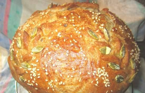 Bread of three types of flour on milk thistle broth with cabbage brine on mixed dough with old dough (oven)