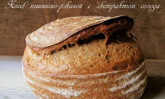 Wheat-rye bread with malt extract