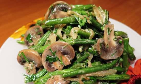 Green beans salad with mushrooms