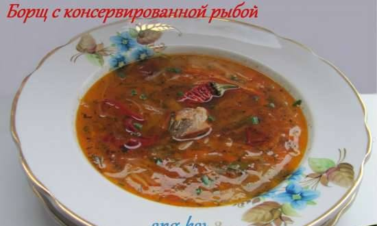 Borscht with canned fish