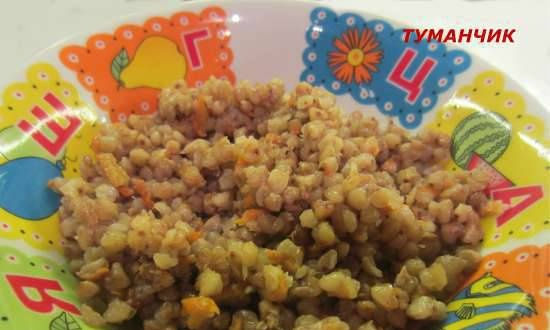 Loose buckwheat with green buckwheat vegetables in a multicooker-pressure cooker