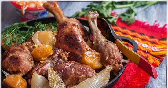 Duck stewed with turnips