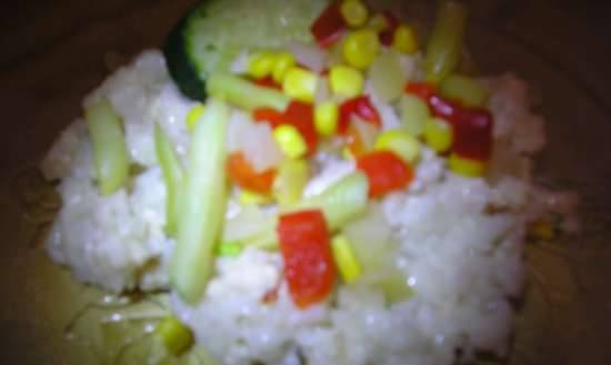 Dinner with rice and minced meat in a rice cooker 1 l