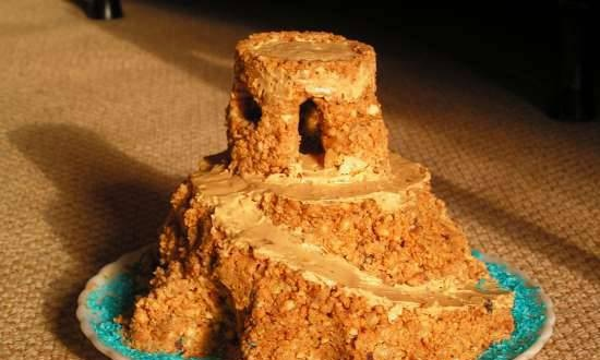 """""""Anthill"""" cake with condensed milk"""