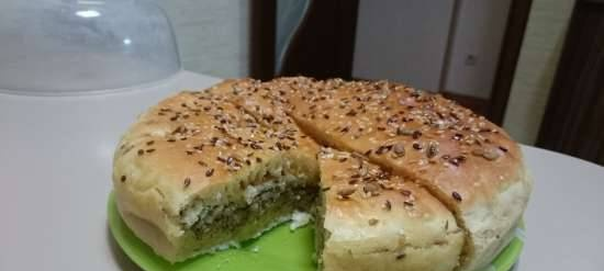 Quick yeast pie with saury and rice