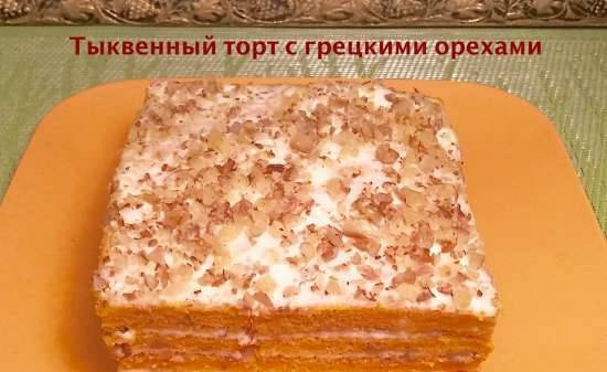Pumpkin cake with walnuts and cottage cheese cream